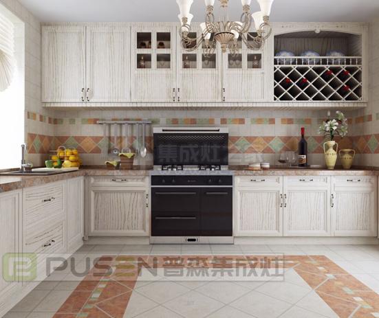采用白色木纹的橱柜,和黑色的普森悦尊款集成灶